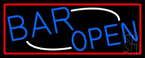 Blue Open Bar Neon Sign