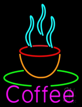 Pink Coffee Cup Neon Sign