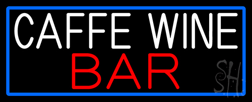 Cafe Wine Bar With Blue Border Neon Sign