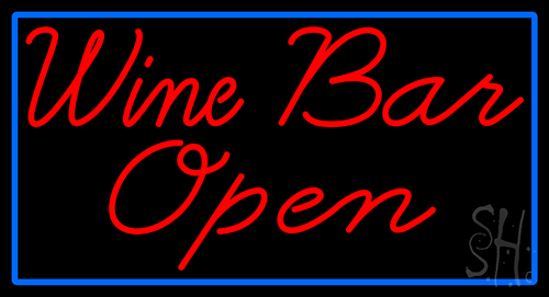 Cursive Red Wine Bar Open With Blue Border Neon Sign