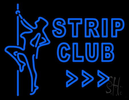 Blue Strip Club Neon Sign