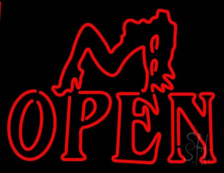 Strip Girl Open Neon Sign