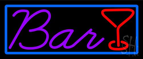 Purple Bar With Martini Glass Neon Sign