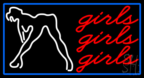 Red Girls Girls Girls Strip Club With Blue Border Neon Sign