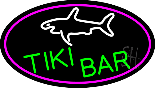 Tiki Bar And Shark Oval With Pink Border Neon Sign