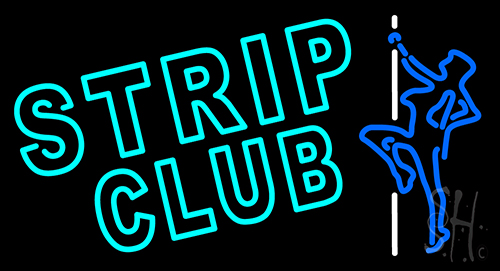 Turquoise Strip Club Neon Sign