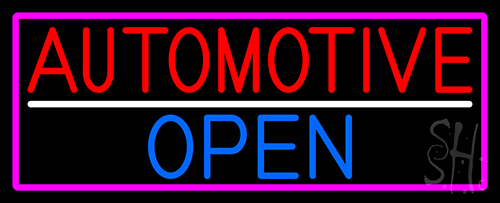 Automotive Open With Pink Border Neon Sign