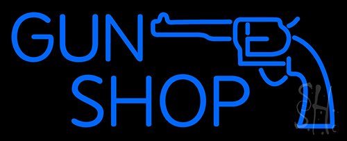 Blue Gun Shop Neon Sign Guns And Ammo Neon Signs Every Thing Neon