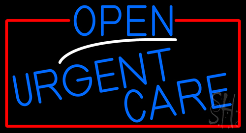 Blue Open Urgent Care With Red Border Neon Sign