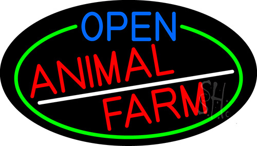 Open Animal Farm Oval With Green Border Neon Sign