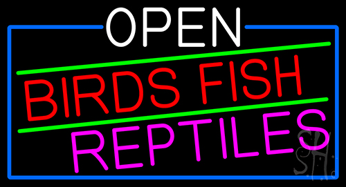 Open Birds Fish Reptiles With Blue Border Neon Sign