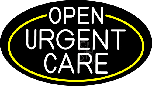 White Urgent Care Oval With Yellow Border Neon Sign
