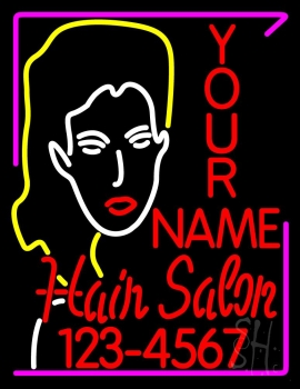 Custom Hair Salon With Number Neon Sign