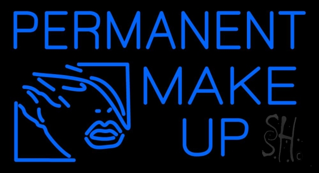 Blue Permanent Make Up Neon Sign