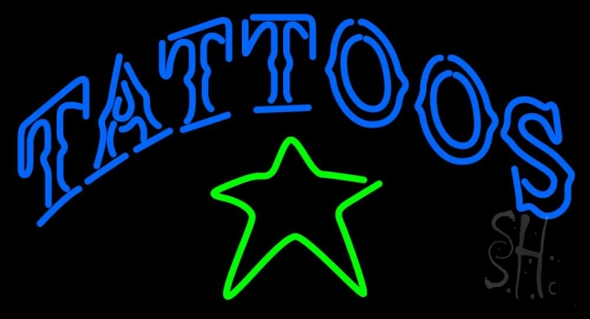 Tattoos With Star Logo Neon Sign