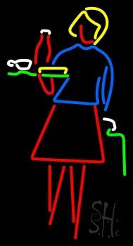 Girl Holding Tray Restaurant Neon Sign