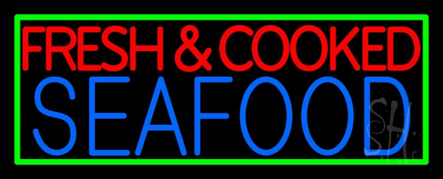 Fresh And Cooked Seafood Neon Sign