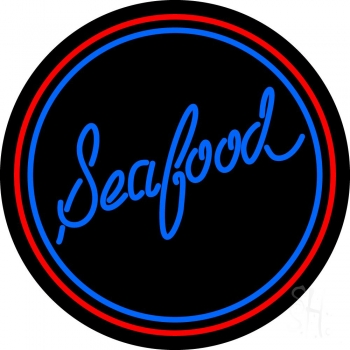 Round Seafood Neon Sign