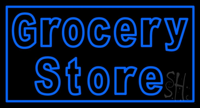 Blue Grocery Store Neon Sign Grocery Store Neon Signs