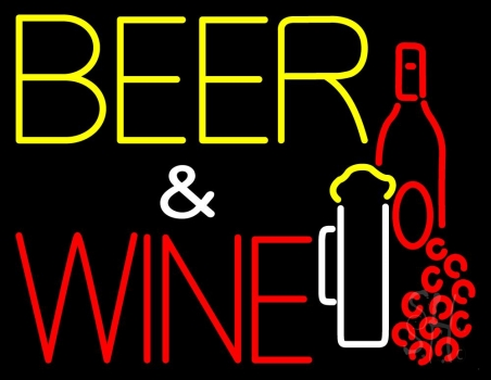 Beer And Wine With Bottle Neon Sign