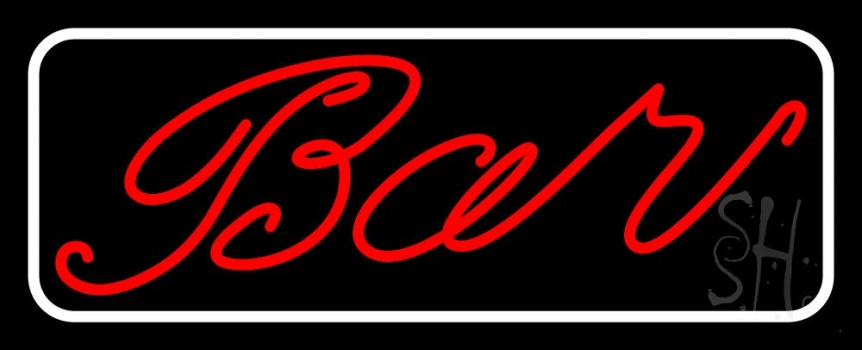 Cursive Red Bar With White Border Neon Sign