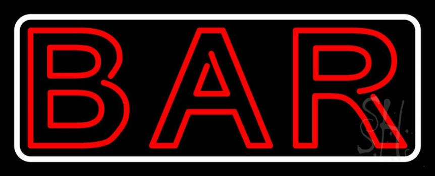 Double Stroke Red Bar With White Border Neon Sign