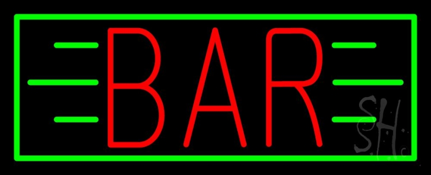 Red Bar With Green Lines And Border Neon Sign