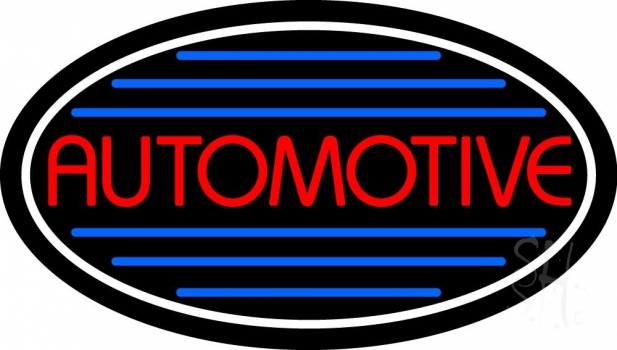 Automotive With Blue Lines Neon Sign