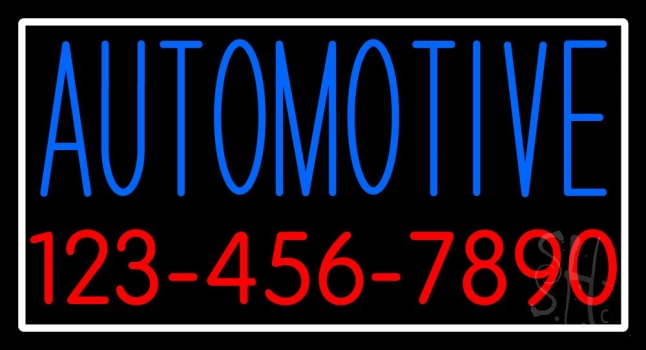 Automotive With Phone Number And Border Neon Sign