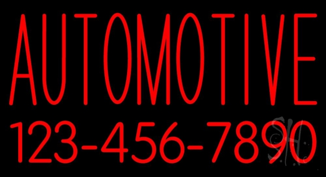 Automotive With Phone Number Neon Sign