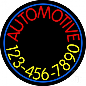 Automotive With Yellow Number Neon Sign