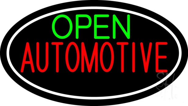 Green Open Automotive Neon Sign