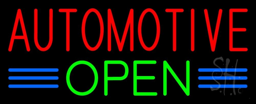 Red Automotive Green Open Neon Sign