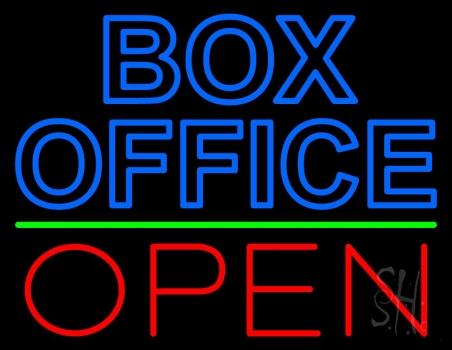 Blue Box Office Open Neon Sign
