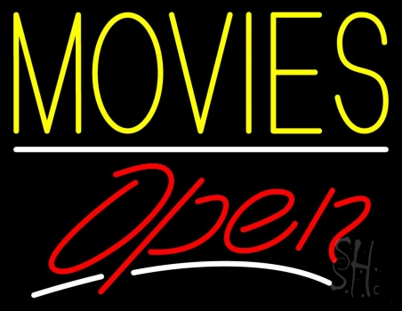 Yellow Movies Open Neon Sign