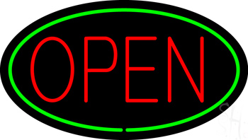 Red Open Green Oval Neon Sign