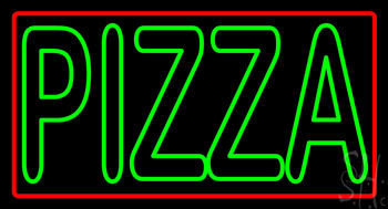Double Stroke Pizza with Border Neon Sign