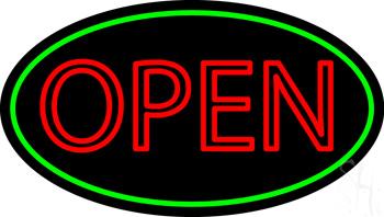 Double Stroke Open Green Oval Neon Sign
