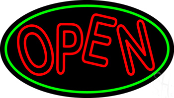 Red Double Stroke Open Oval Neon Sign