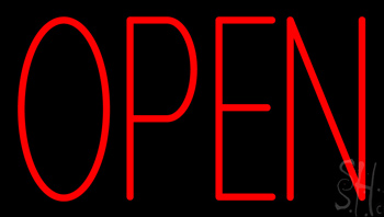 Red Open Neon Sign
