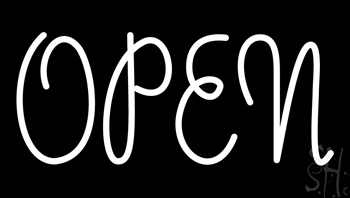 White Open Neon Sign