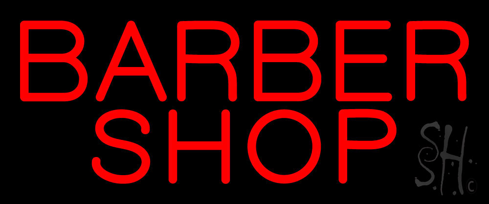 Simple Red Barber Shop Neon Sign
