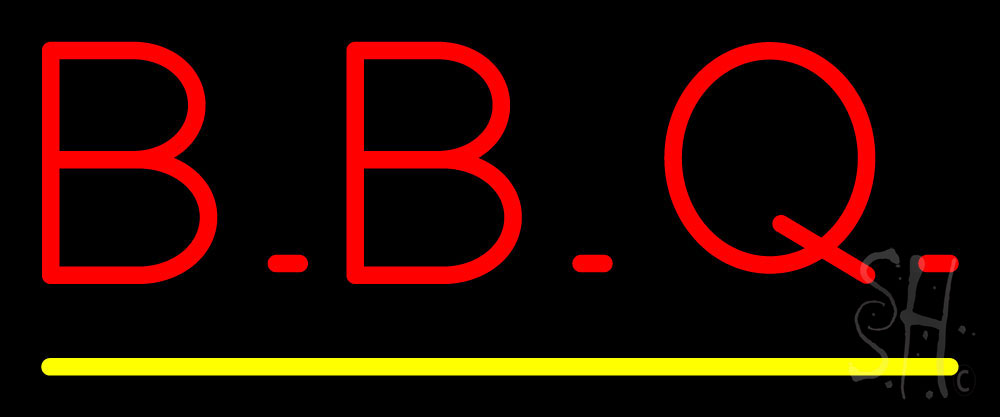 Block BBQ with Yellow Line Neon Sign