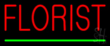 Red Florist Green Line Neon Sign