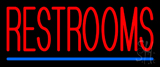 Restrooms Neon Sign with Blue Line