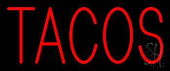 Red Simple Tacos Neon Sign