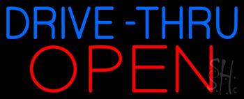 Blue Drive-Thru Red Open Neon Sign