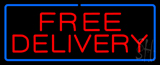 Free Delivery with Blue Border Neon Sign