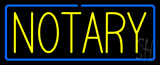 Yellow Notary Blue Border Neon Sign
