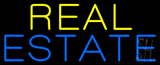 Yellow Blue Real Estate Neon Sign